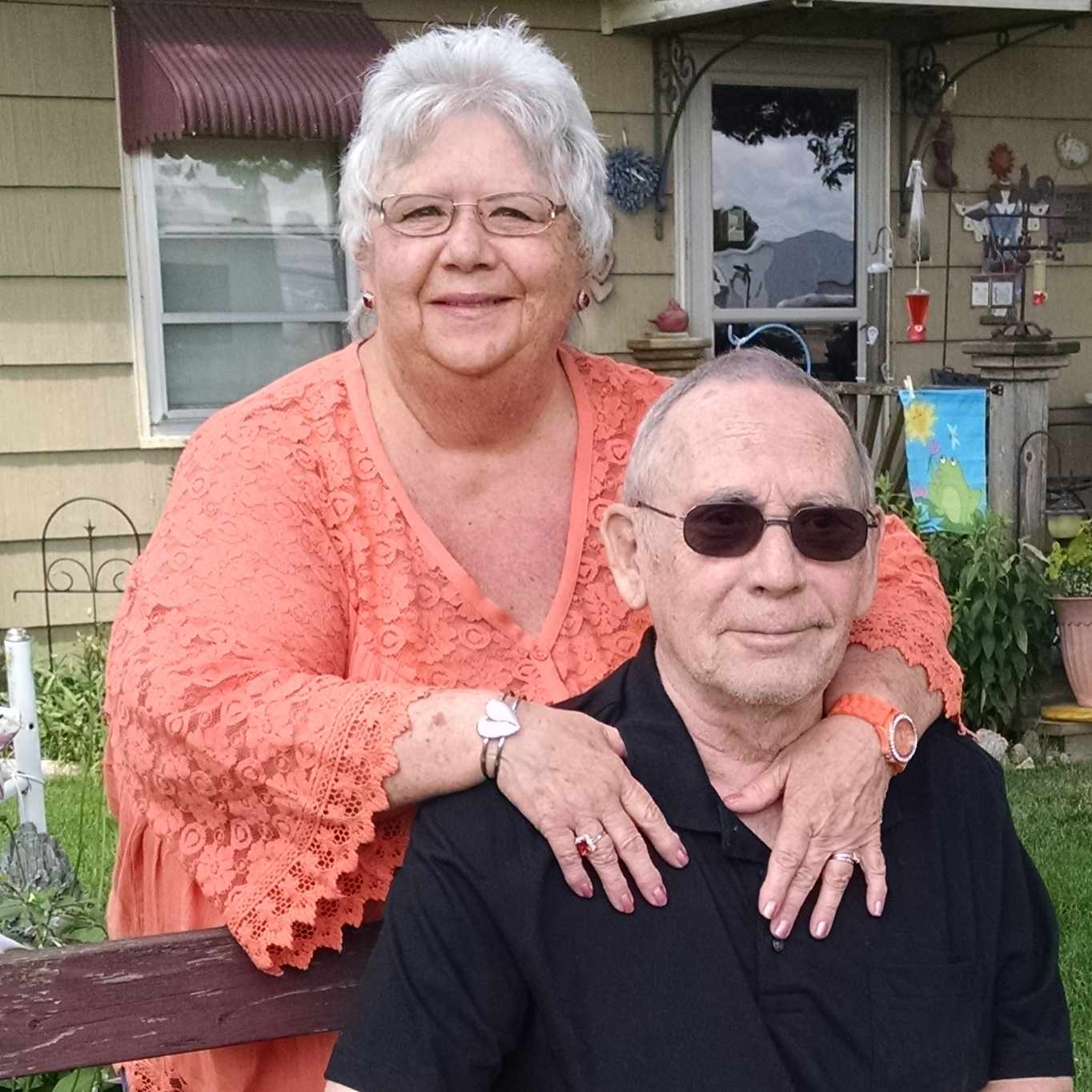 aortic aneurysm patient pictured with his wife outside their home