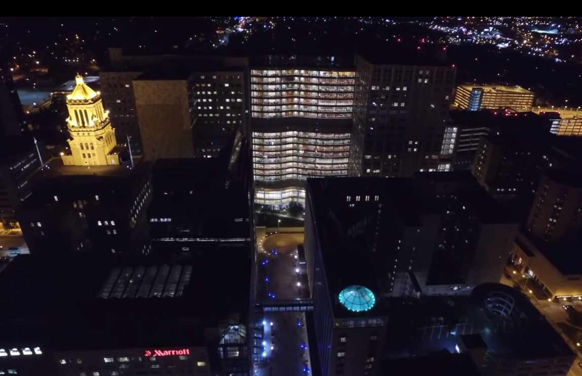 a nighttime aerial photo of the Mayo Clinic Plummer and Gonda Buildings on the downtown campus