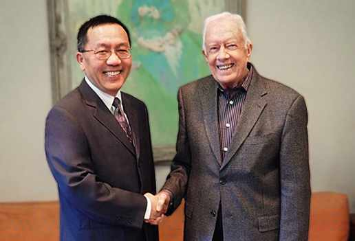 Dr. Dong was a recent guest of President Jimmy Carter. Photo by the Carter Center in Atlanta, Georgia