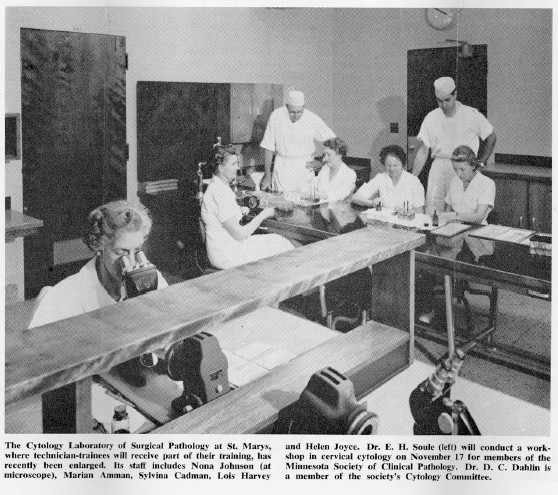 a 1957 photo of the Cytology Laboratory of Surgical Pathology at St. Marys