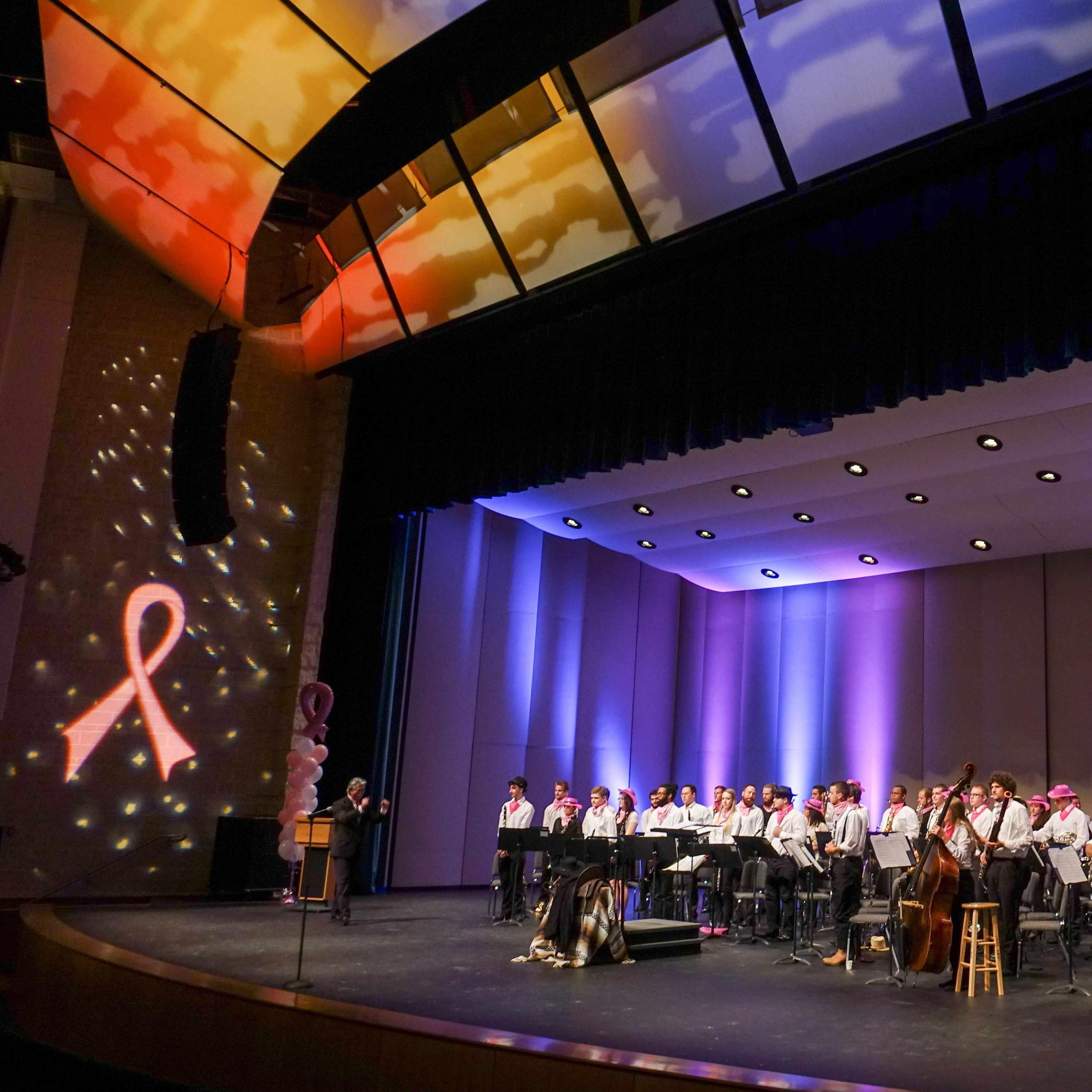 Performers on stage for a breast cancer awareness concert