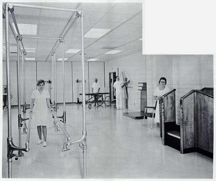 a 1967 photo of Janet Borg and Lucy Sivly, PT aides; Melvin Peterson, orderly; and Edwin Wessner, staff therapist in the gymnasium