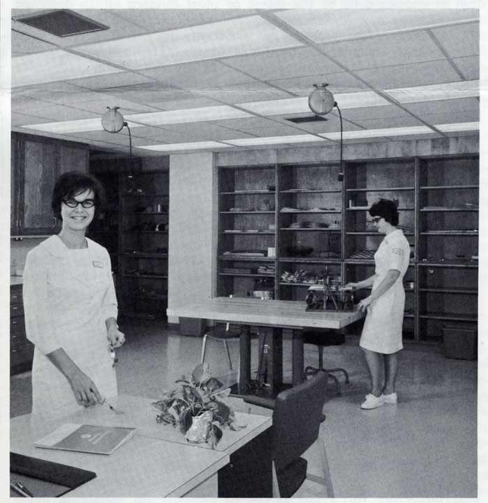 a 1967 photo staff occupational therapist Sally Kuhn and Nancy Arndt, OT aide