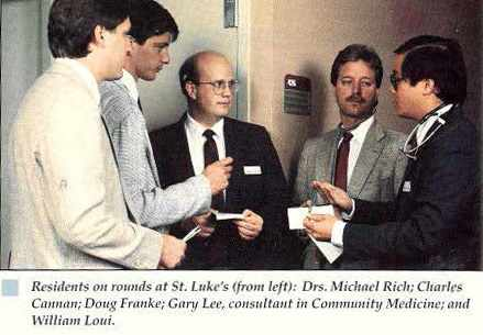 Flashback Friday - a 1990 photo of residents on rounds at St. Luke's - Drs. Michael Rich; Charles Cannan; Doug Franke; Gary Lee, consultant in Community Medicine; and William Loui