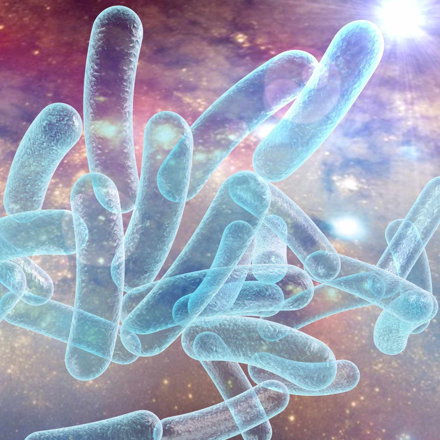 Bacterium Legionella pneumophila on surrealistic space background