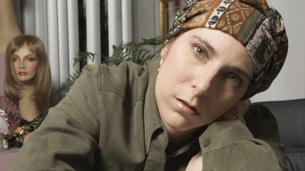ovarian cancer patient Cindy Weiss wearing a head turban during treatment