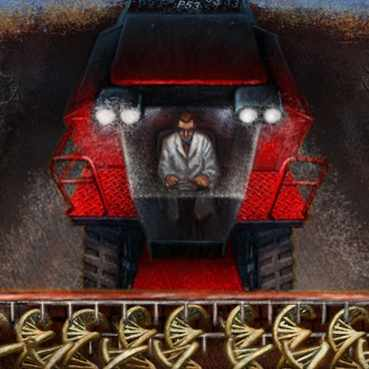 Discovery's Edge illustration for cancer biomarker story of a farm harvesting machine in a corn field