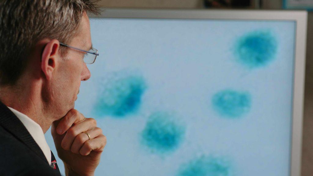 El Dr. Jan van Deursen mira unas células en la pantalla del computador