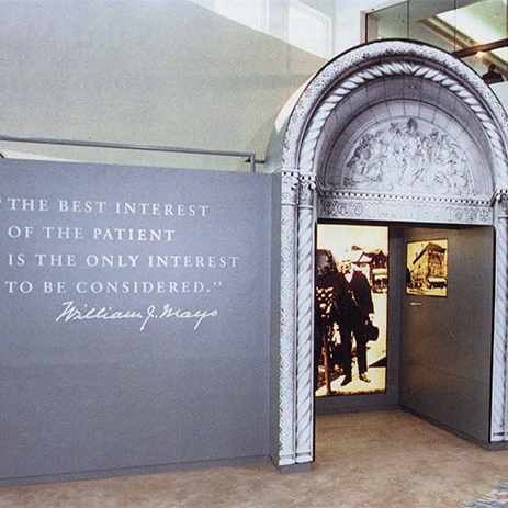 a 1986 photograph of the Mayo lobby photography exhibit when the Mayo Clinic campus in Jacksonville, Florida, was dedicated