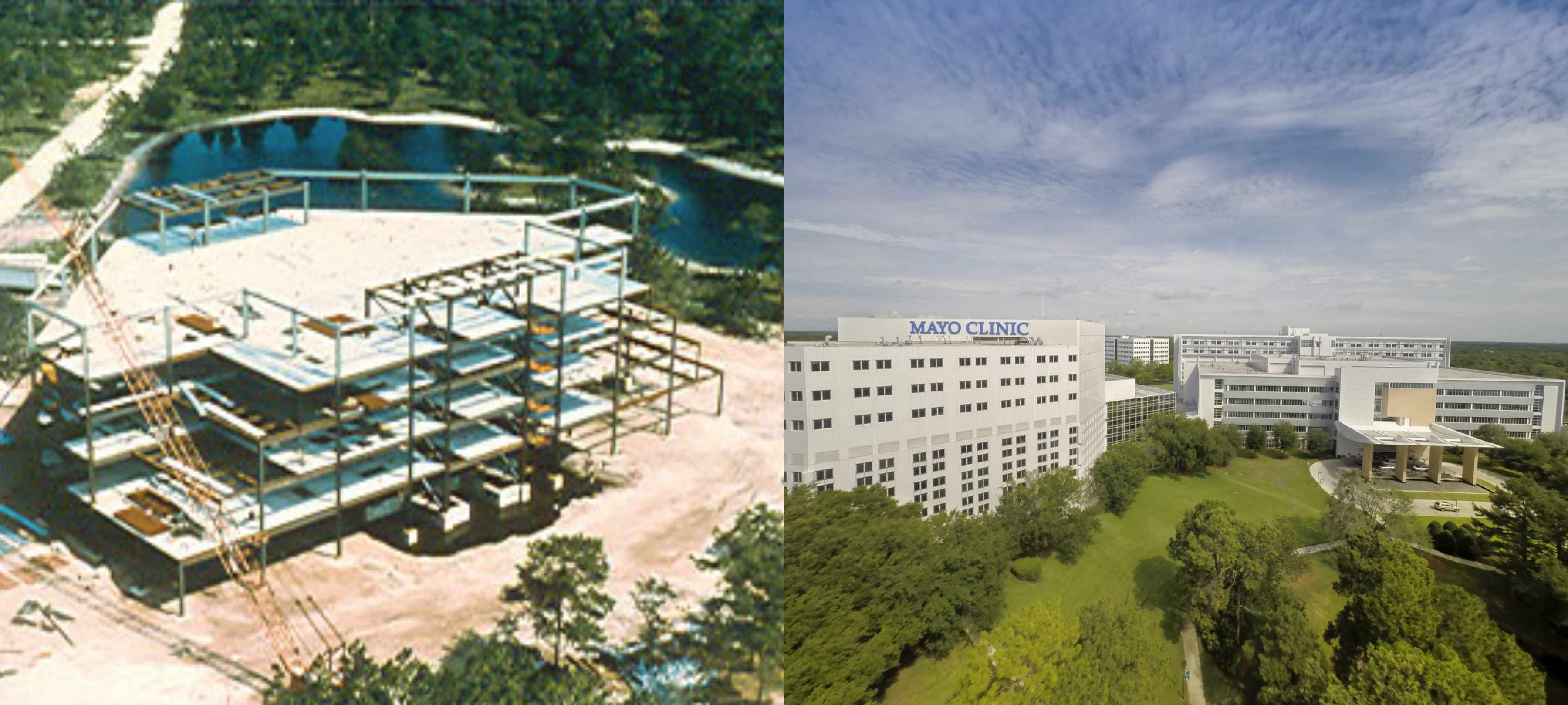 The land in 1986 when Mayo Clinic in Florida was first being developed, graciously donated by the Davis family; and the campus today.