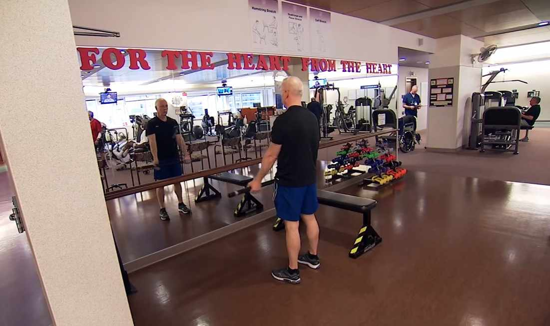 cardiac patient Ron Petrovich in rehabilitation workout gym