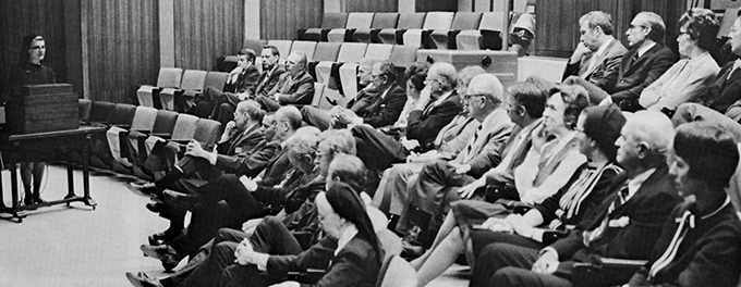 a 1973 photo of Saint Marys Administrator Sister Generose Gervais addressing members of the Boards of Trustees of Mayo Clinic and Saint Marys Hospital
