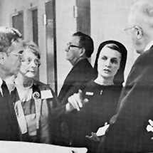 a 1973 photo of Saint Marys Administrator Sister Generose Gervais with members of the Boards of Trustees of Mayo Clinic and Saint Marys Hospital