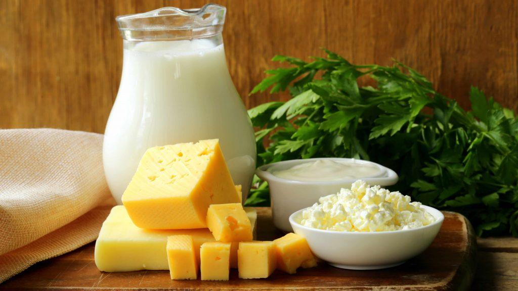 Imagen de productos lácteos, como leche, queso, crema agria y requesón, arreglados sobre una tabla de cortar y decorados con hojas verdes al fondo