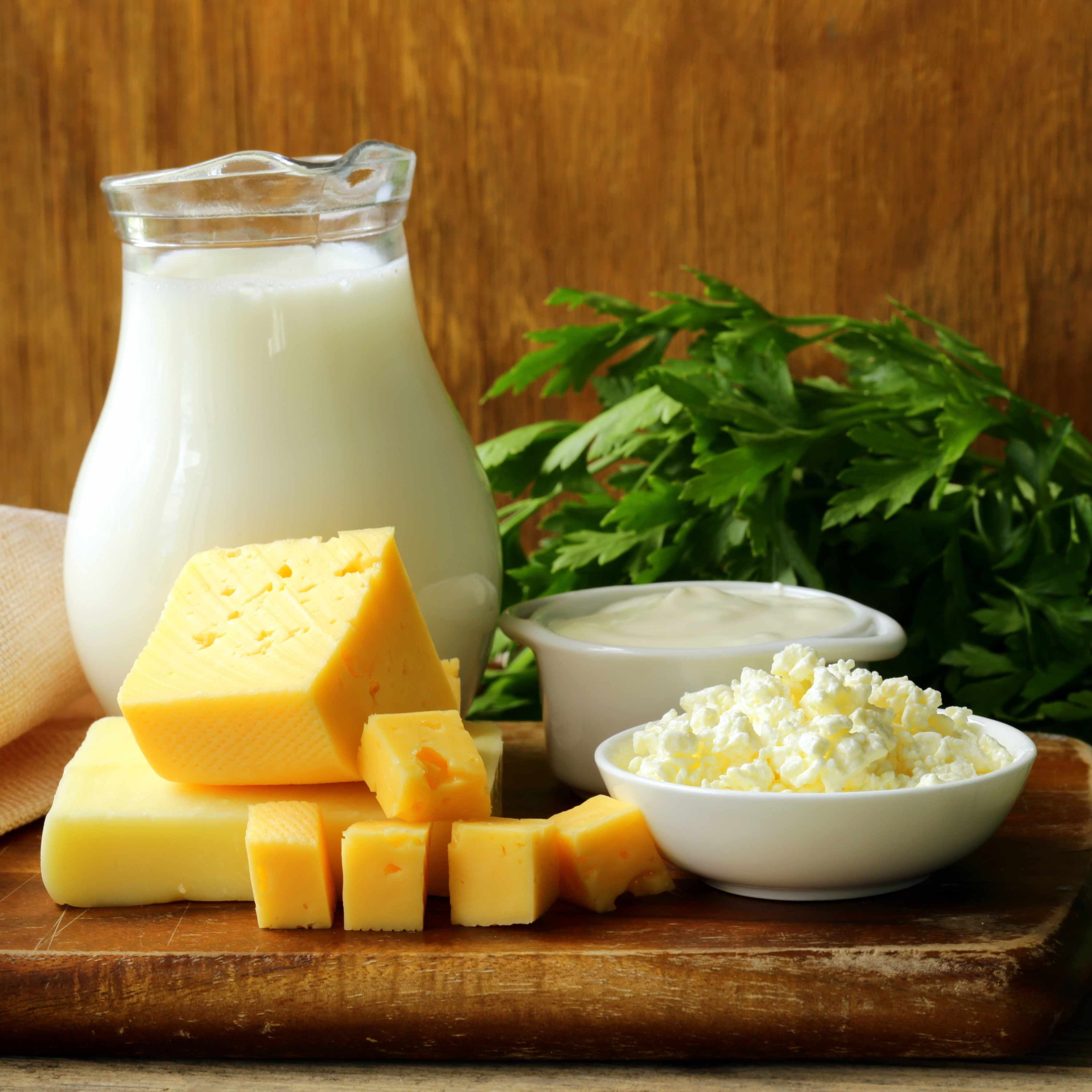a still life of dairy products, including milk, cheese, sour cream and cottage cheese, on a wooden cutting board and with greens in the background