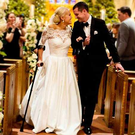 paralyzed athlete walks down the aisle