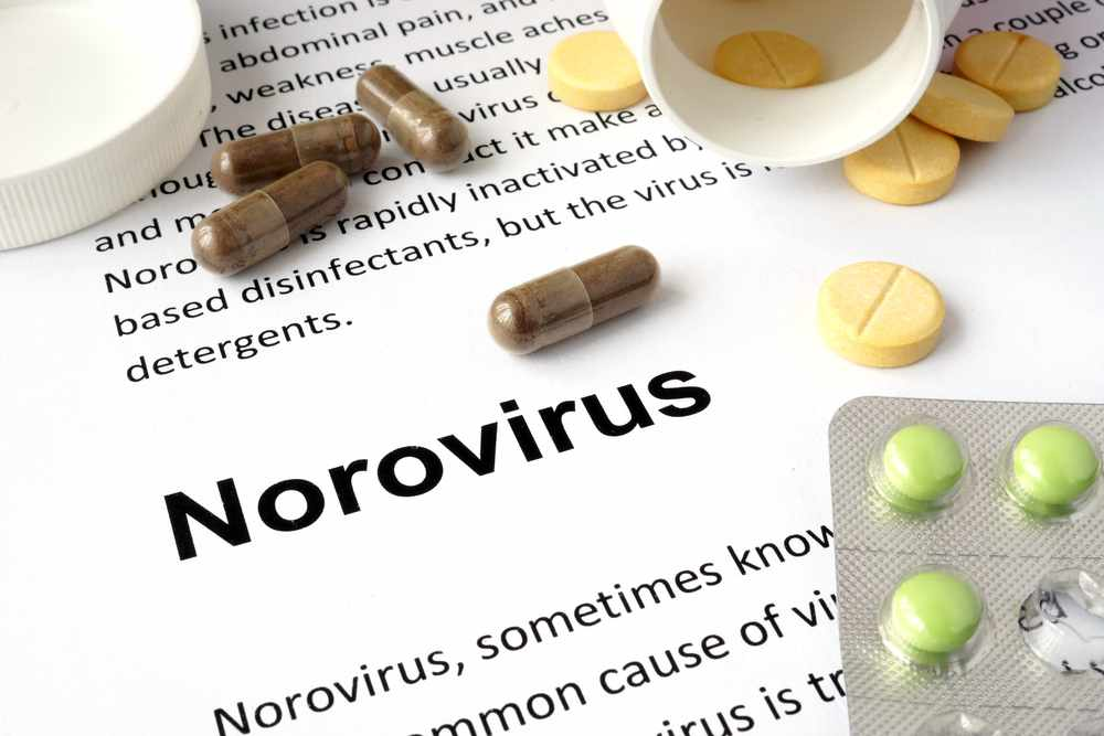 a word definition for norovirus with medicine pills on the paper