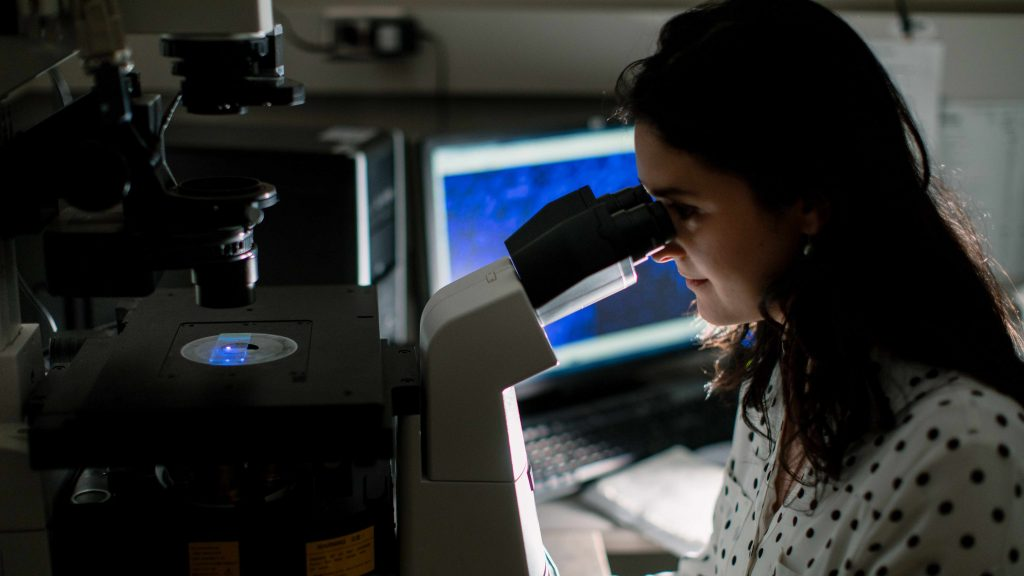 Una investigadora mira una laminilla en el microscopio