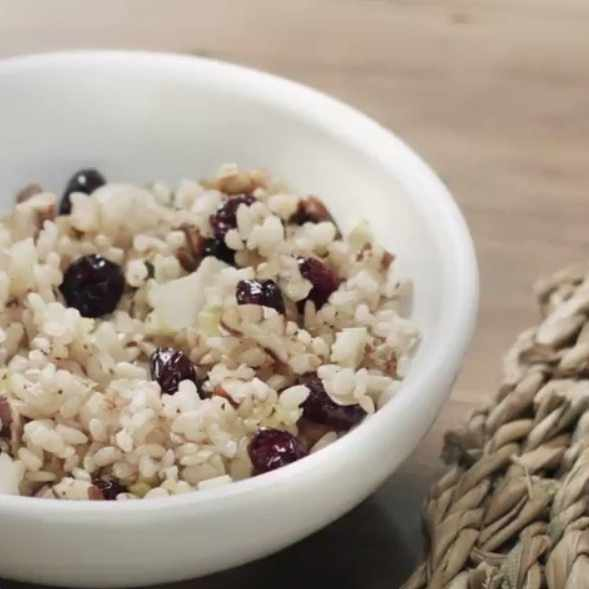 a bowl of cranberry rice pilaf