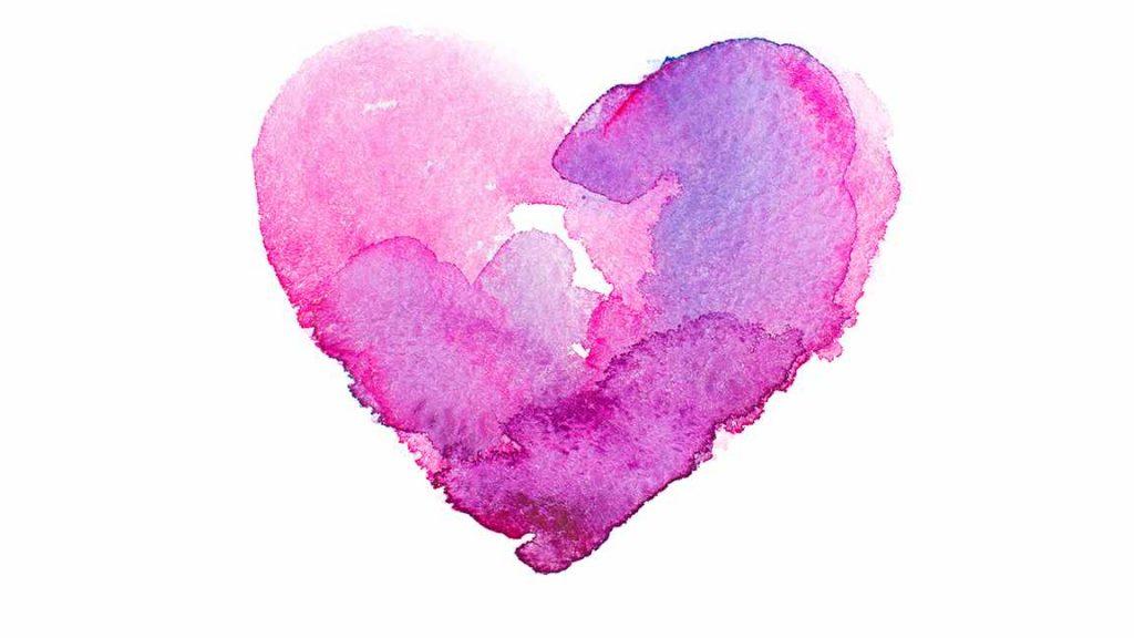 Un gráfico de acuarela de un corazón en rosas y púrpuras