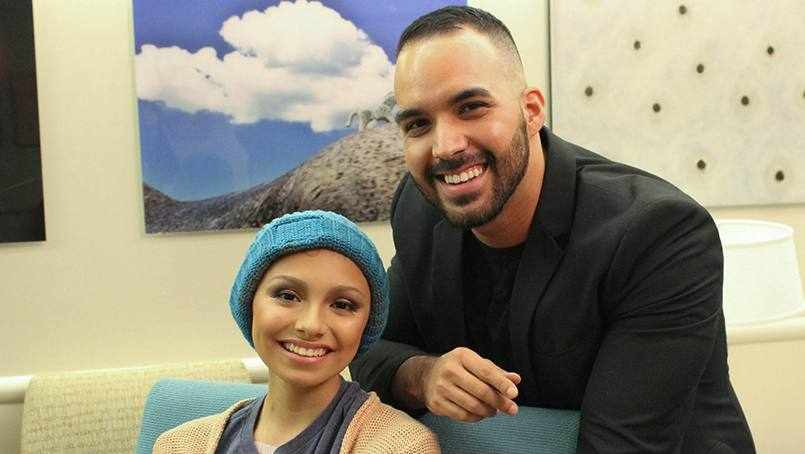 makeup artist, Adrian Rios with cancer patient Clarissa