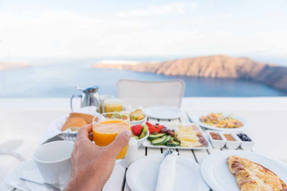 a holiday breakfast overlooking an oceanview on vacation