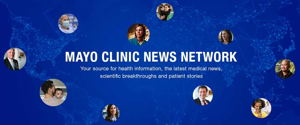 Mayo Clinic News Network logo with blue image of the world and circle figures of people's faces scattered across the banner