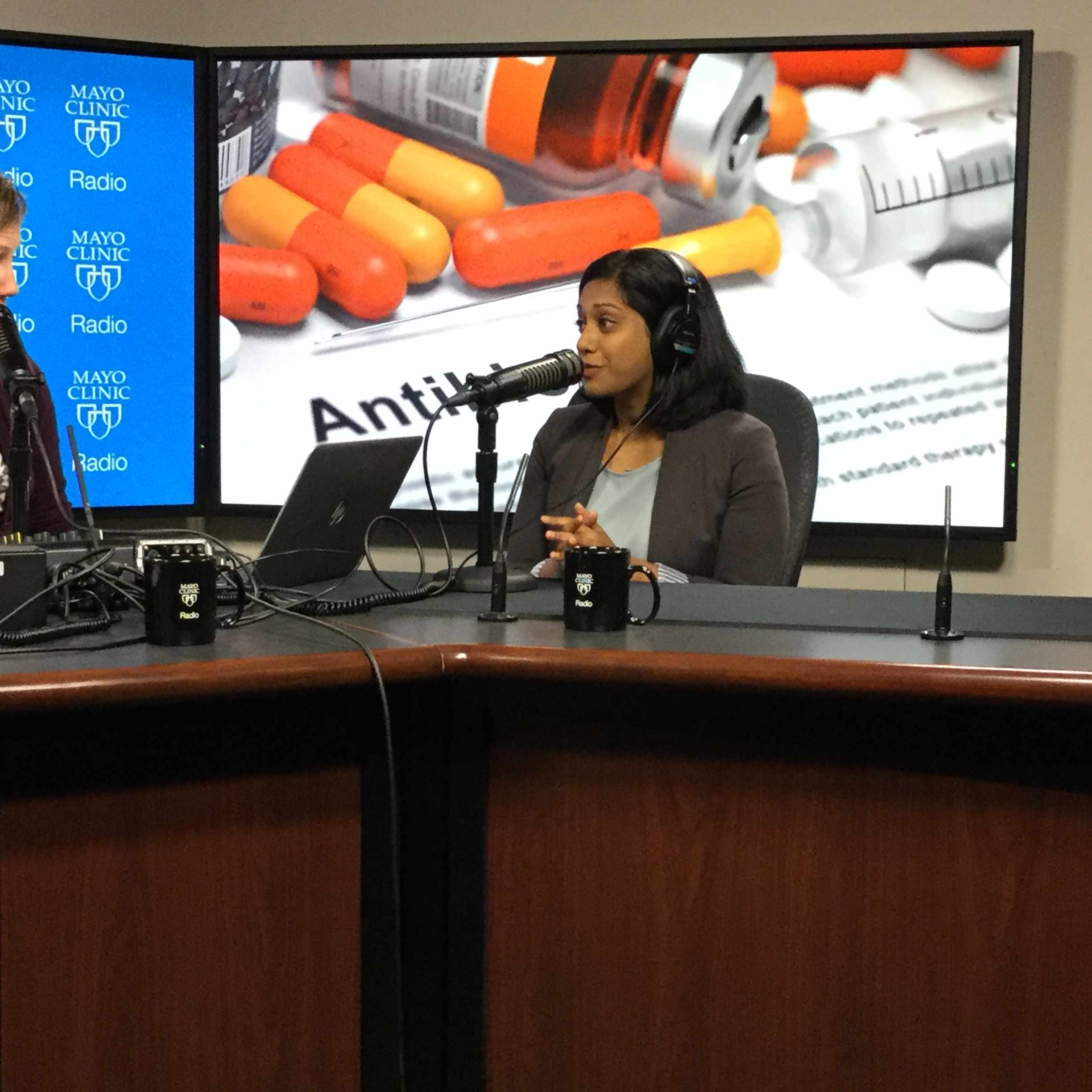 Dr. Nipunie Rajapakse being interviewed on Mayo Clinic Radio