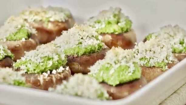 basil pesto mushrooms