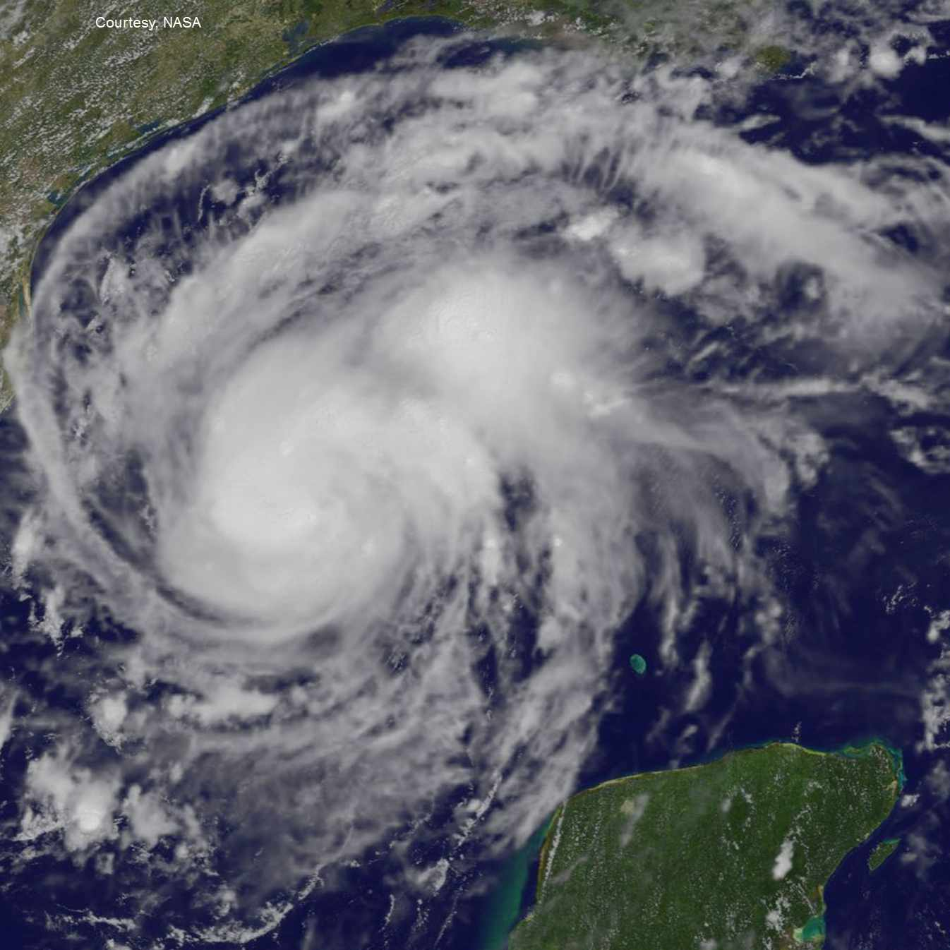 NASA satellite image of Hurricane Harvey approaching the Texas gulf coast.