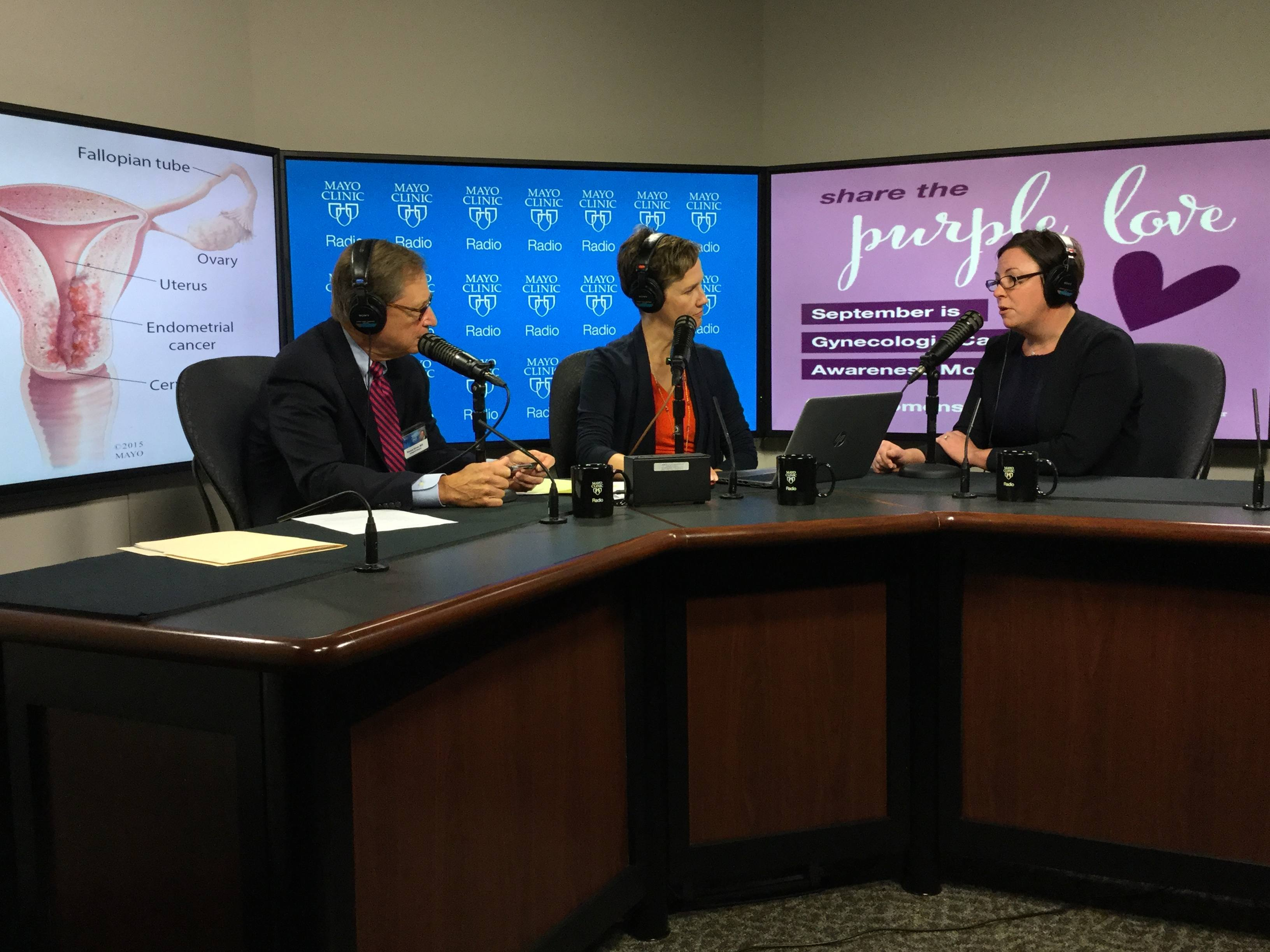 Dr. Jamie Bakkum-Gamez being interviewed on Mayo Clinic Radio