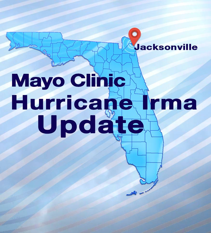 Hurricane Irma News Update Graphic with Florida map and Jacksonville locator