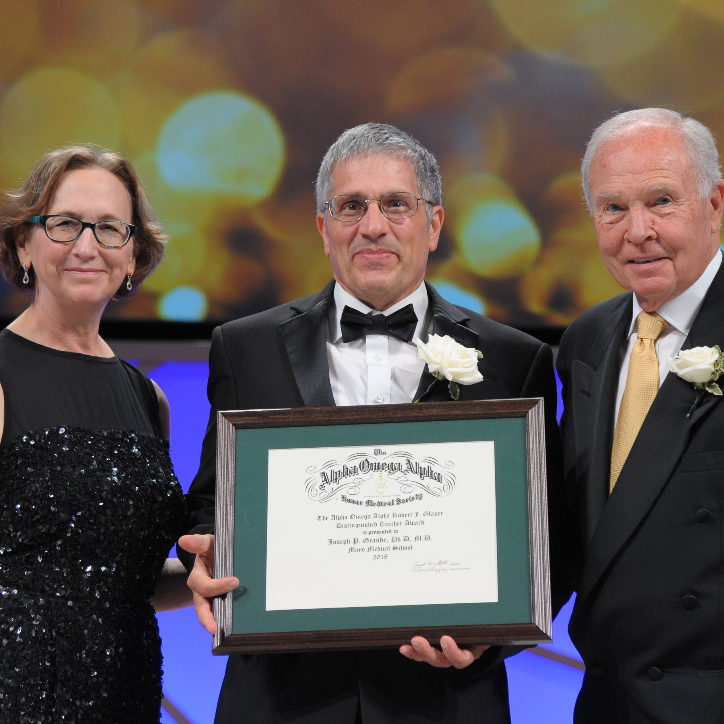 photo of Dr. Joseph Grande receiving award
