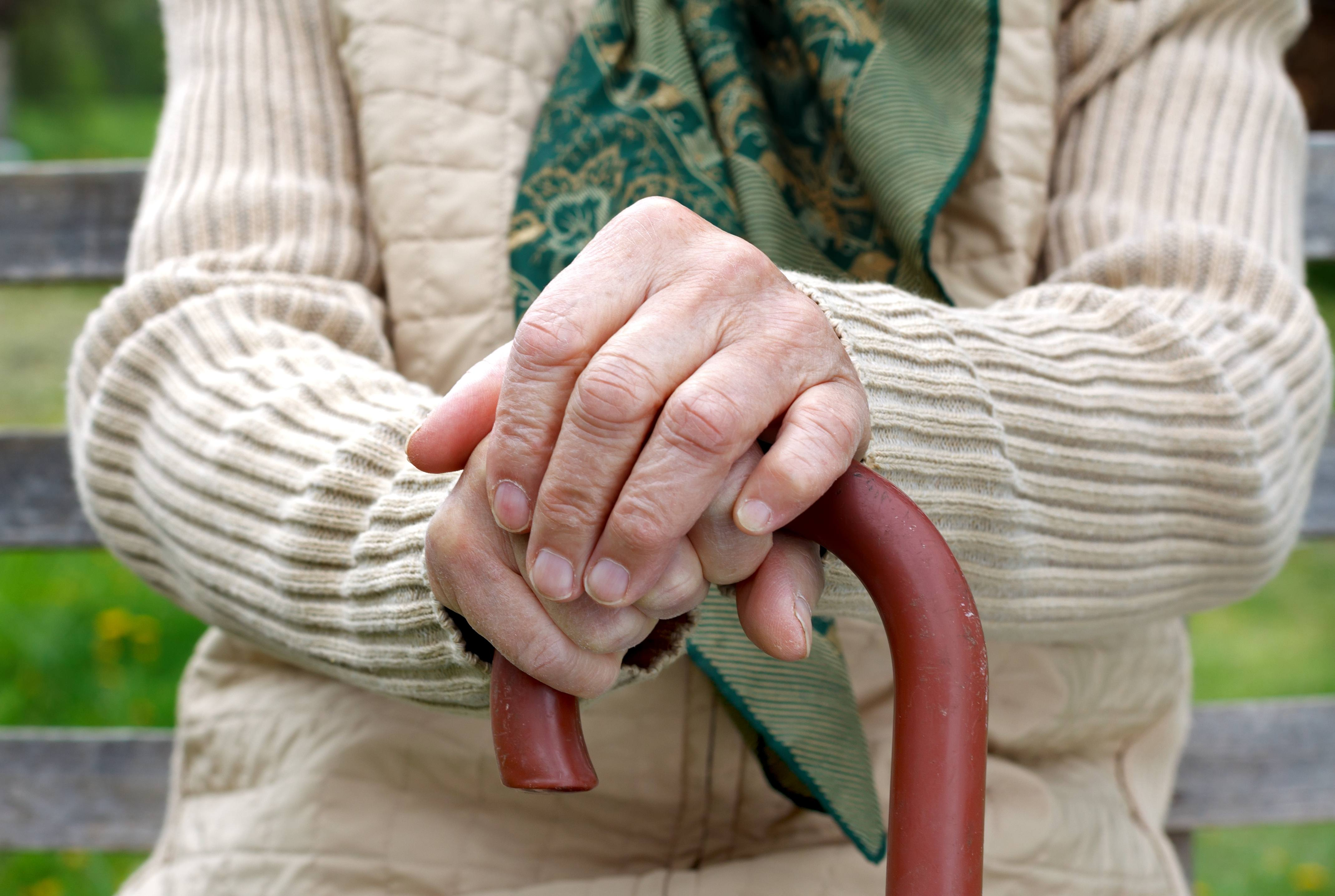 elderly person's hands with a cane