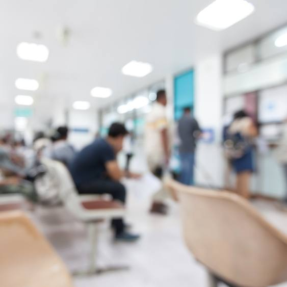 Blurred background of patient waiting for see doctor in the hospital
