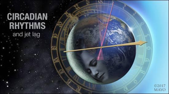 Representación gráfica de los ritmos circadianos y el desfase horario