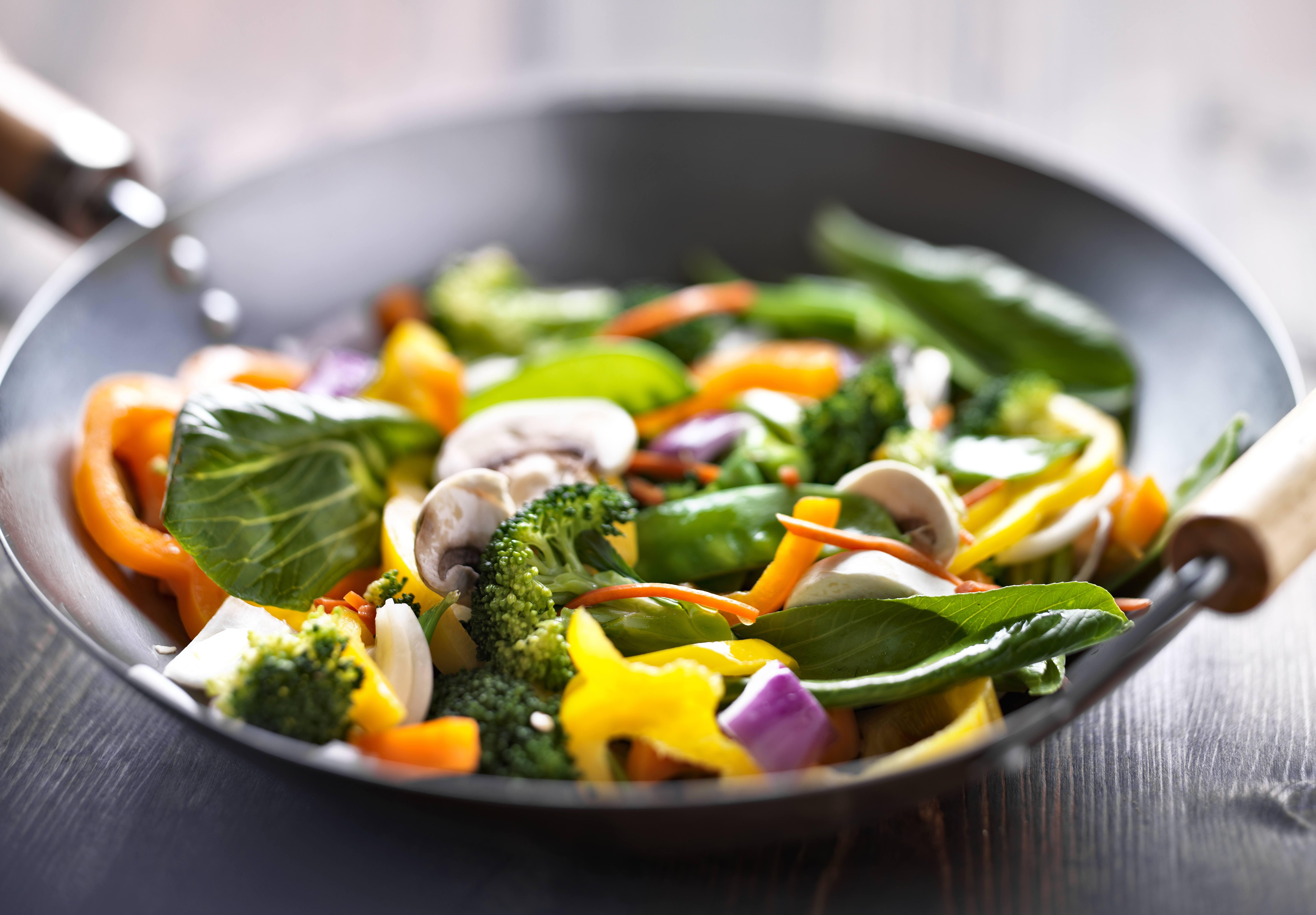 wok with stir fry vegetables