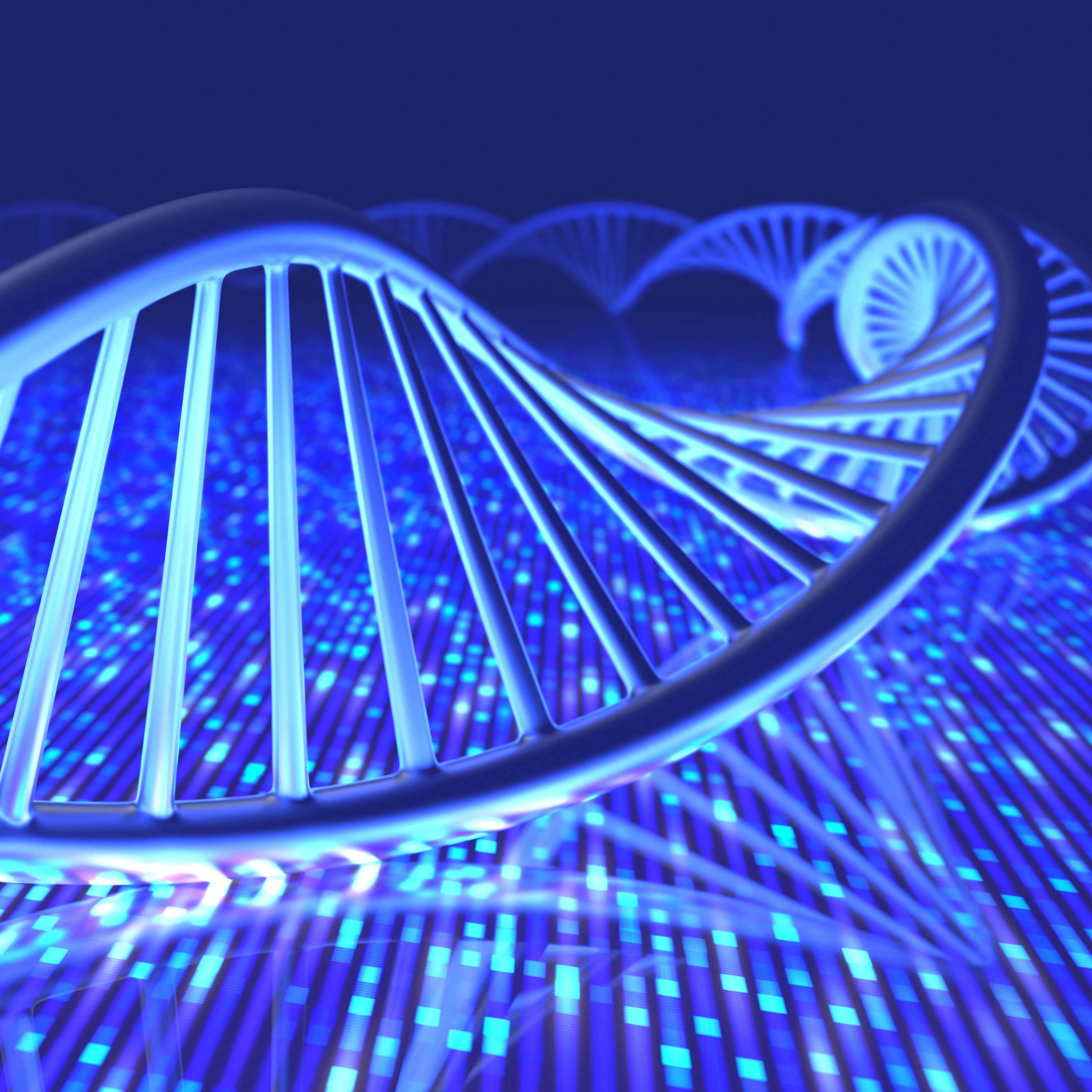 3D illustration, concept of DNA and Senger sequence