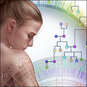 a graphic illustrating the concept of genetic testing for breast cancer
