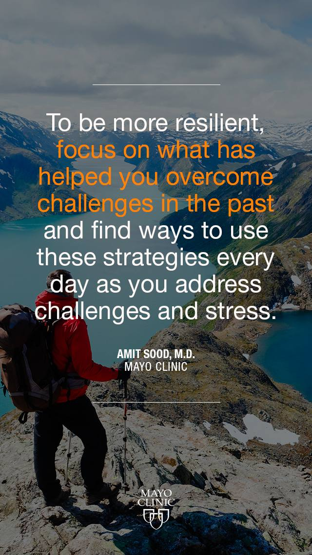 Dr. Sood quote about challenges, embedded over a picture of a hiker on a mountain