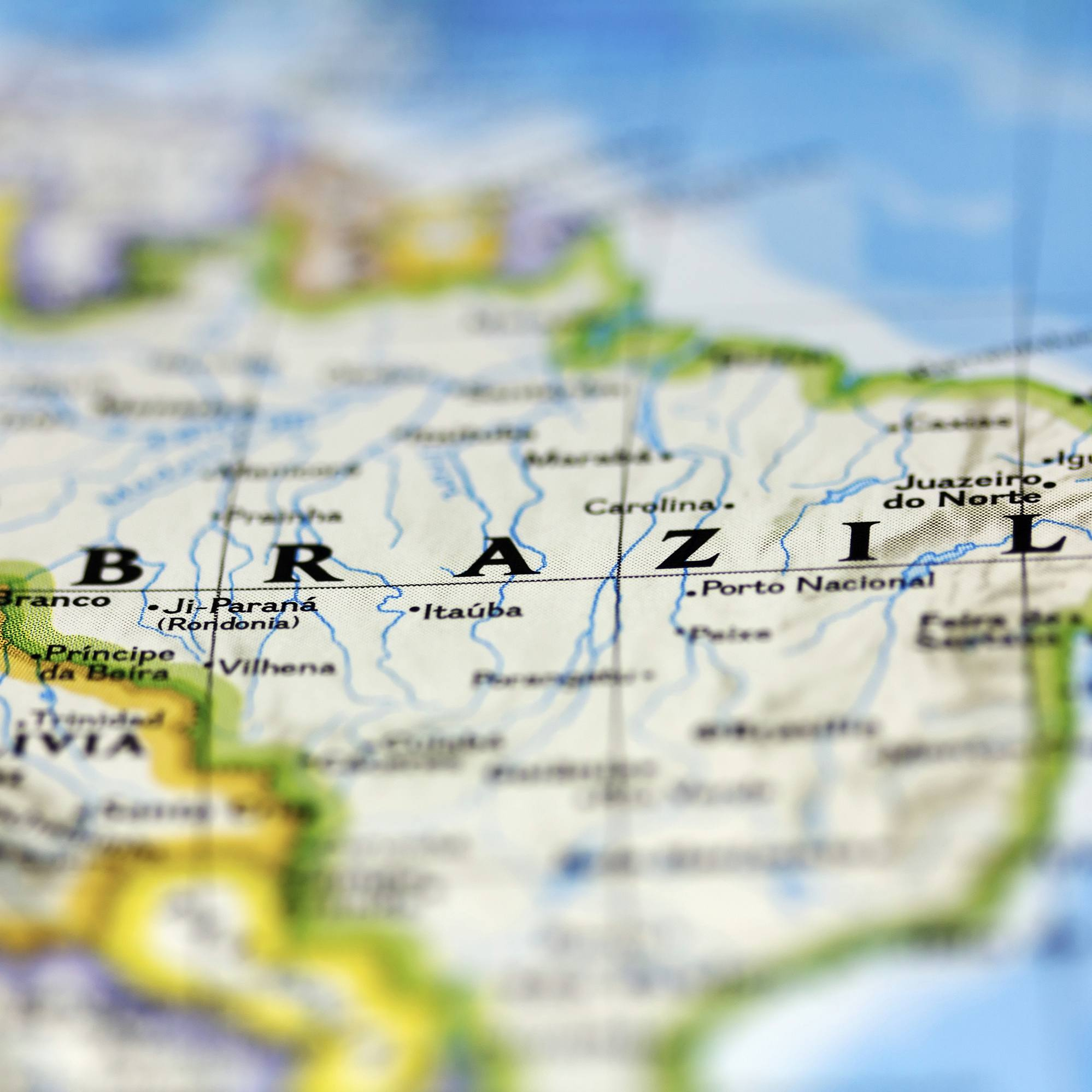 traveling map of the country Brazil in South America