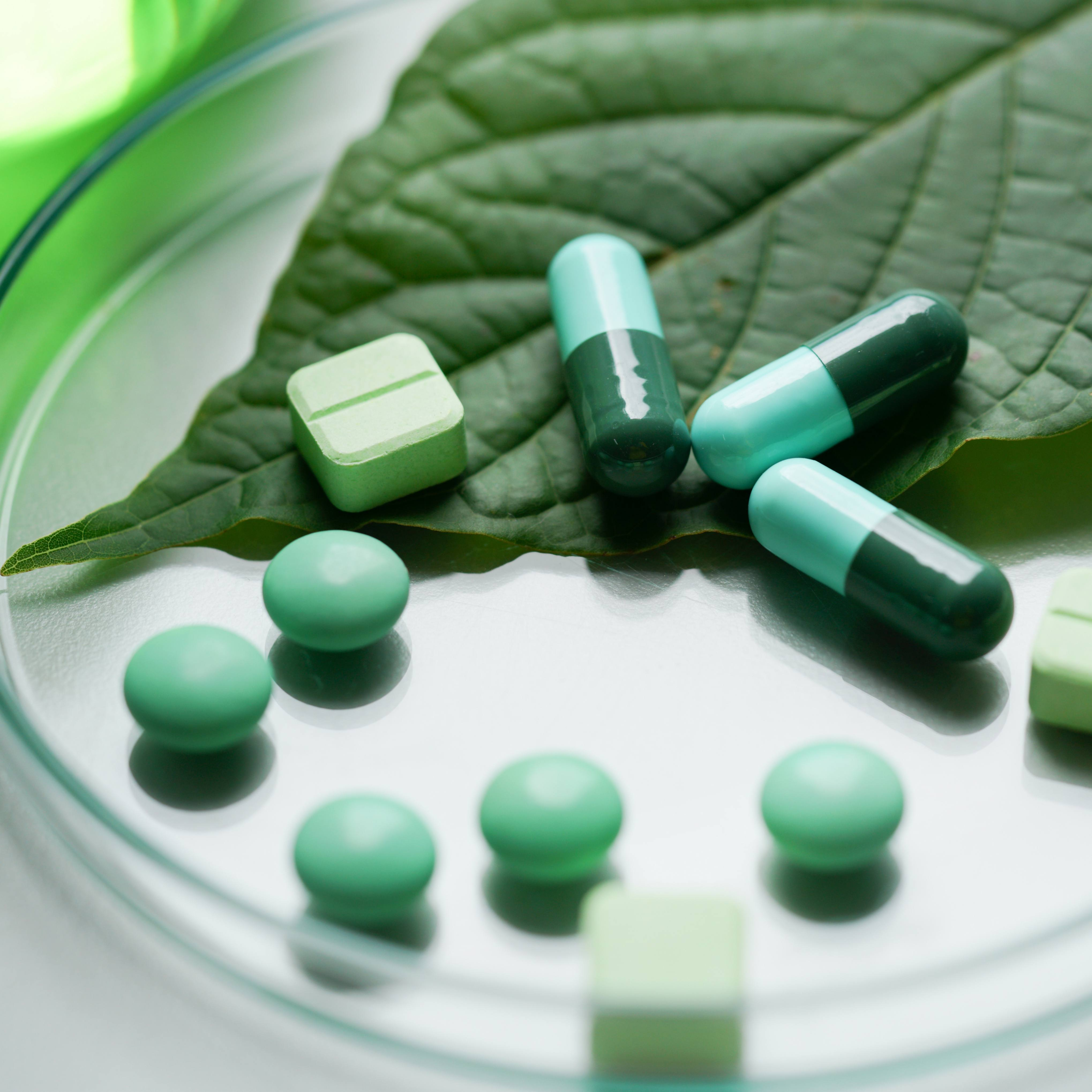 Mitragyna speciosa korth (kratom) herbal drug plant with pain pills in the laboratory research