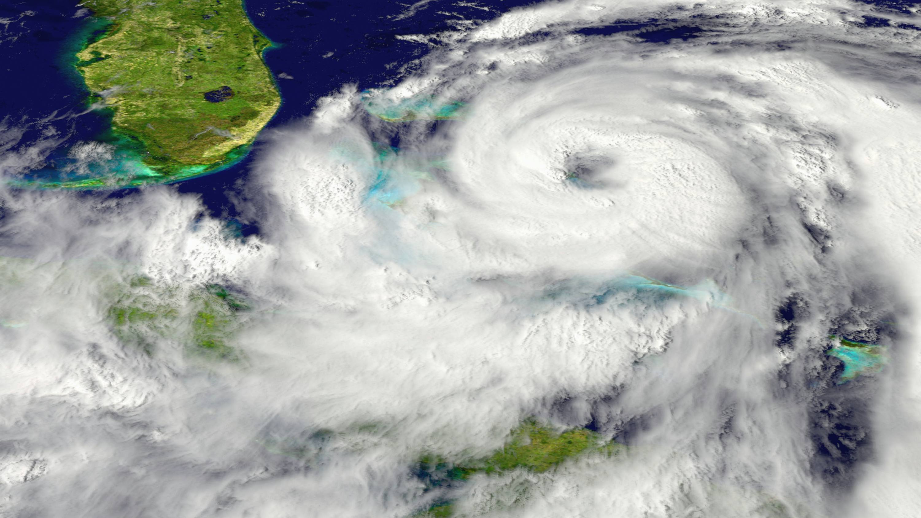 an Atlantic hurricane near Florida from a NASA space satellite