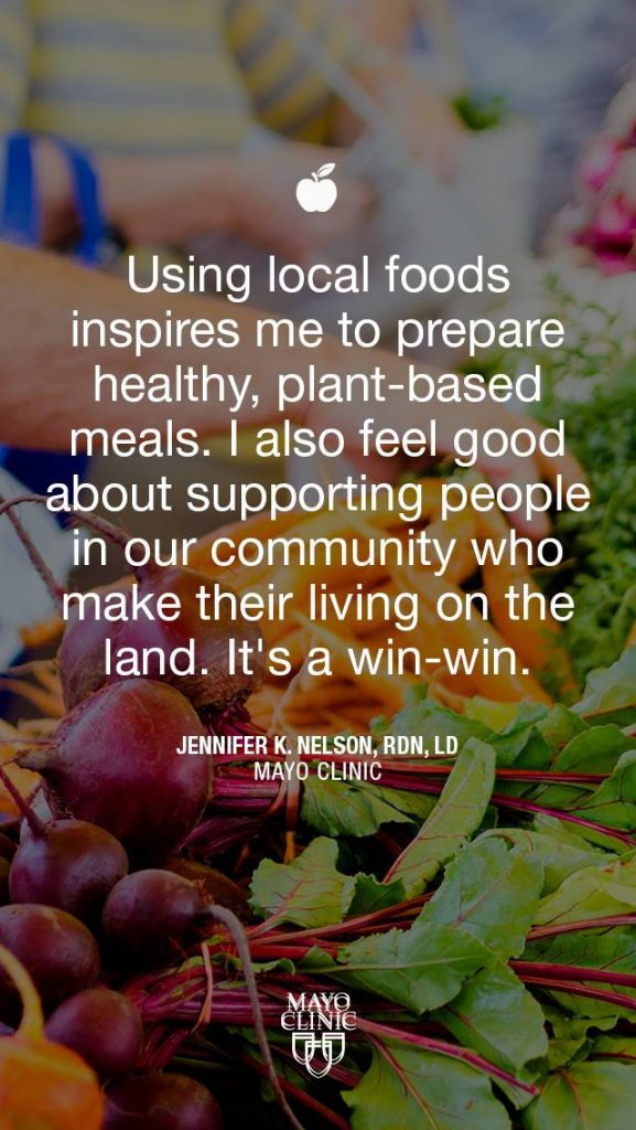 graphic with Farmer's Market vegetables in the background and the quote from dietician Jennifer Nelson about using local foods.