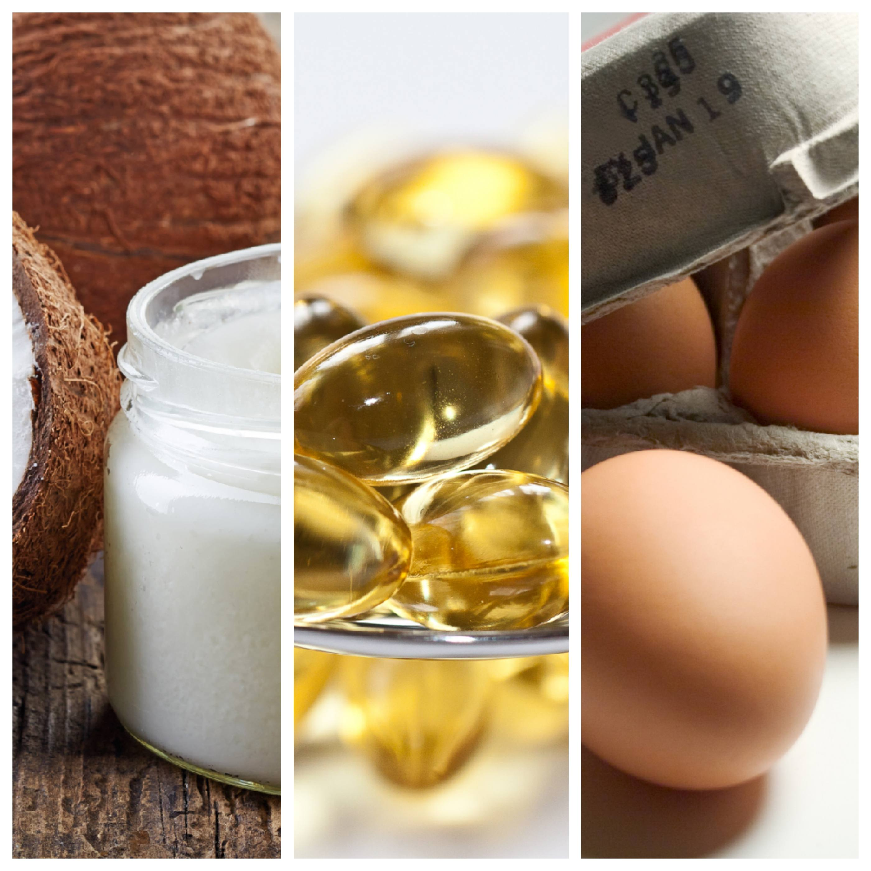 a collage of coconut oil, omega-3 supplements and eggs, depicting heart-healthy diet myths