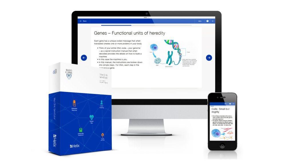 Aplicación Mayo Clinic GeneGuide y kit para análisis del ADN