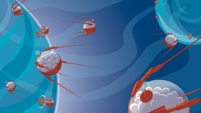 Discovery's Edge illustration of molecules being released and shared between cells