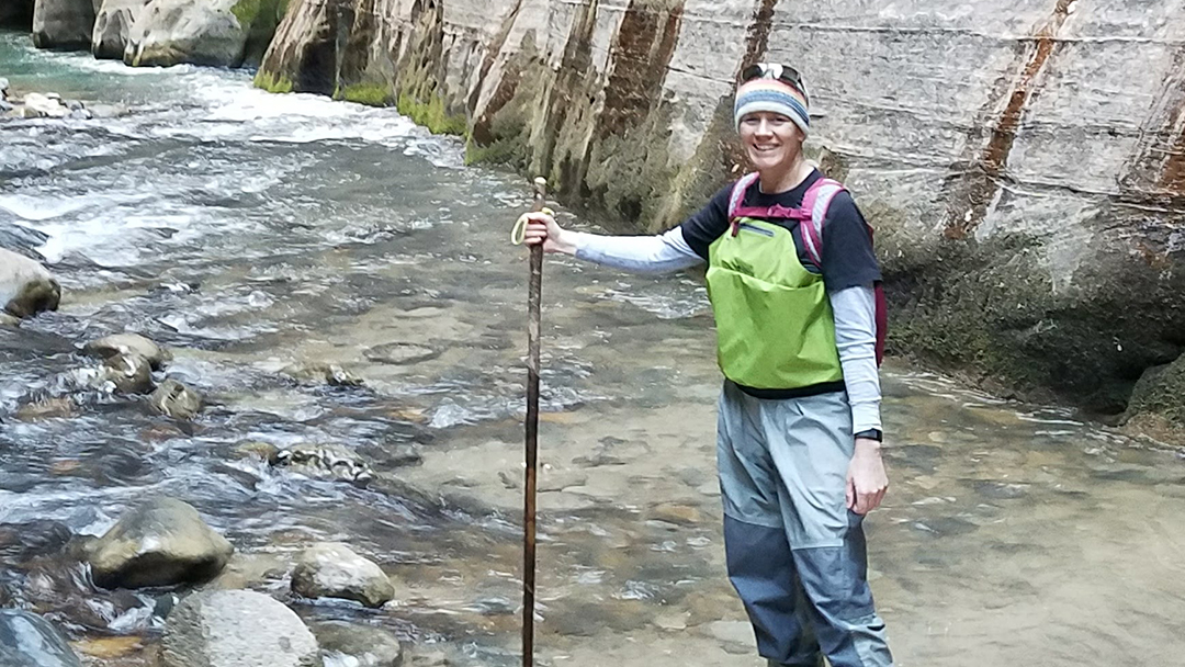 Sharing Mayo Clinic patient Jennifer Tetler hiking in a rocky stream