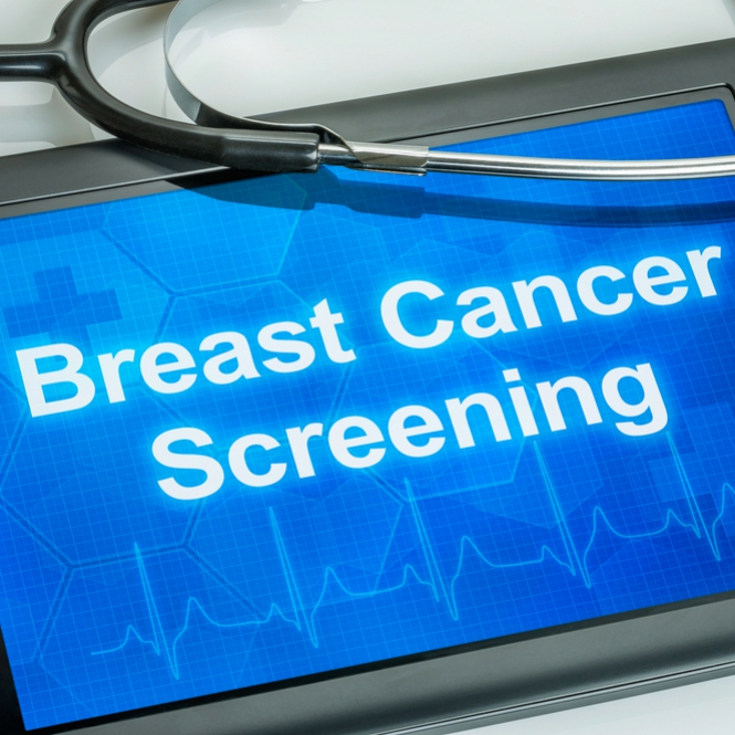 a computer tablet with the text Breast Cancer Screening on the display
