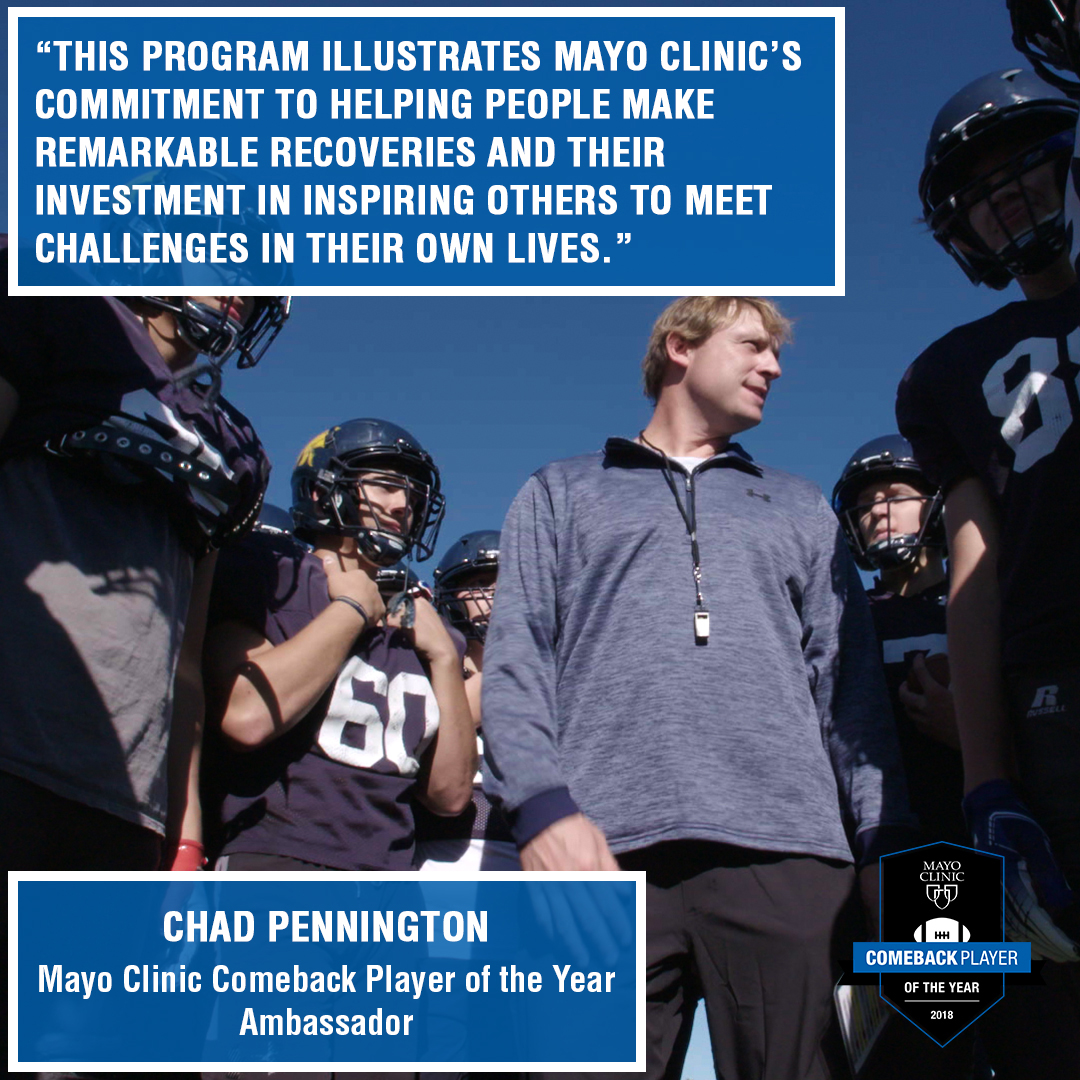 Comeback Player of the Year graphic with football player Chad Pennington